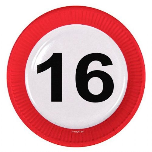 Traffic Sign 16th Party Plates 23cm 8's Birthday Tableware Table Disposables